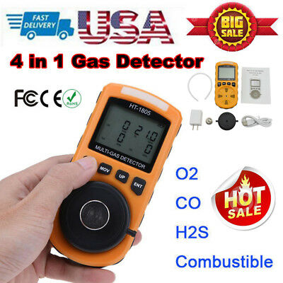 4 in 1 Gas Detector CO O2 H2S LEL Oxygen LEL Gas Monitor Analyzer Meter Yellow