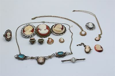 Brilliant Lot of 15 x Antique/Vintage CAMEO Themed Mixed Jewellery