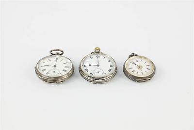 Lot of 3 x Vintage HALLMARKED STERLING SILVER CASED Pocket Watches 237g
