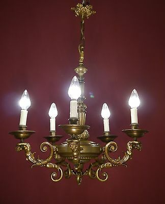 Antique & Beautiful 5 Light Bronze Mazarin Chandelier Old Ceiling Lamp Ancient