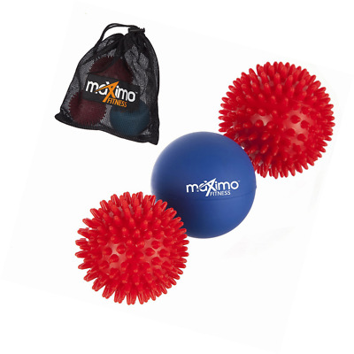 Massage Ball Set Superior Includes 2 x Spiky Massage Balls and 1 x Lacrosse Ball