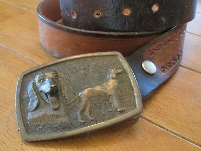"Adezy DENVER 1977 Barkers Leather Belt 36"" w/ Brass Buckle  SETTER DOG"