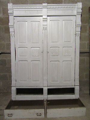 ANTIQUE CARVED WALNUT CLOSET FRONT~ BUILT IN ARMOIRE ~ 65 x 90~ SALVAGE