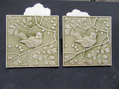 ~ Pair Antique Minton Tiles With Birds Green Glaze 6X6 ~ Architectural Salvage ~