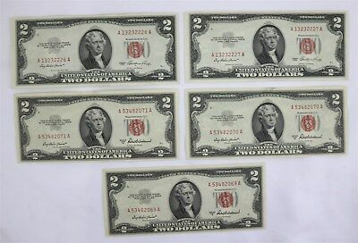 Five US $2 Dollar United States Notes Series 1953 Some Sequential #'s