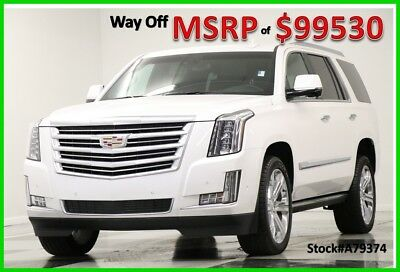 2017 Cadillac Escalade MSRP$99530 4X4 Platinum DVD Sunroof White Diamond New Crystal Tricoat Heated Cooled Black Leather Chairs 22 Inch Chrome Wheels SUV