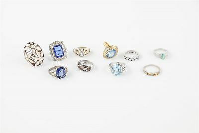 Lot of TEN STUNNING VINTAGE .925 stamped RINGS stone set statement 58g