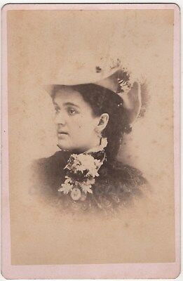Woman Fancy Hat Large Flower Corsage Ithaca NY Antique Cabinet Photo