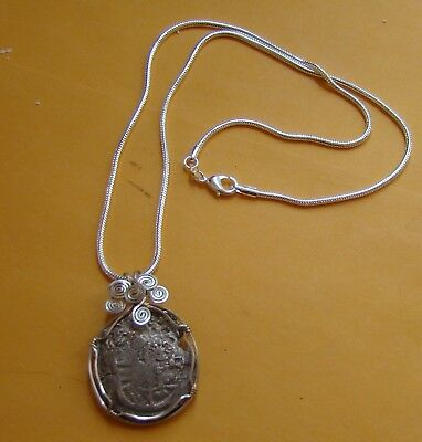 Fantastic authentic Spanish PIECE OF EIGHT shipwreck coin COA pendant 8 reales !