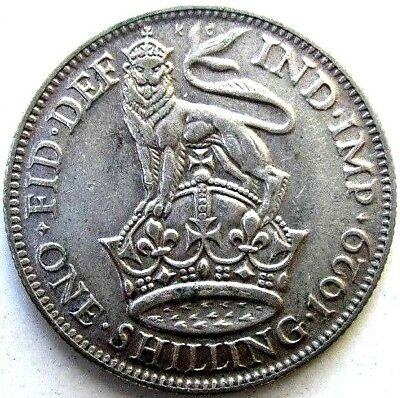 Great Britain Uk Coins, One Shilling 1929, George V, Silver 0.500