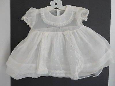 Vintage White Sheer Nylon Baby Dress w/ Embroidered Buds also for Large Doll