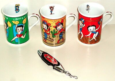 3 Betty Boop Danbury Mint Porcelain Collector Coffee Mugs ~ Franklin Mint Knife