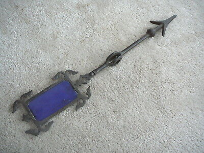ANTIQUE WEATHERVANE - HEAVY CAST IRON ARROW with BLUE GLASS TAIL INSERT - 19-3/4