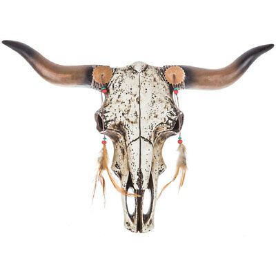 Native Rustic Steer Bull Cow Western Skull Trophy Wall Sculpture NEW