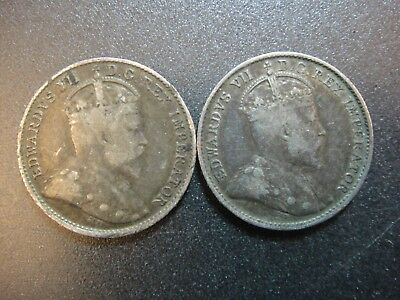 Pair (2) Canada Edward VII Sterling Silver 5 Cent Pieces. Fine to Very Fine.