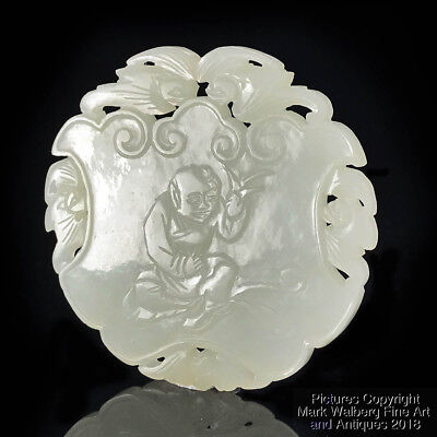 Chinese Off-White Jade Pierced Plaque with Boy, Bats and Characters, 18/19th C.