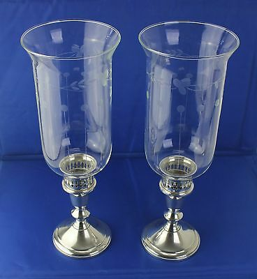 Pair Towle STERLING Silver Glass Hurricane Lamps Convert 2 Candle Sticks Holders