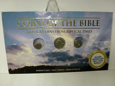 Coins of the Bible Book with Replica Coins Widows Mite Half Shekel Tribute Penny