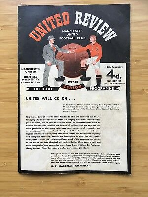 MANCHESTER UNITED V SHEFFIELD WEDNESDAY FA CUP PROGRAMME 1st game after Munich