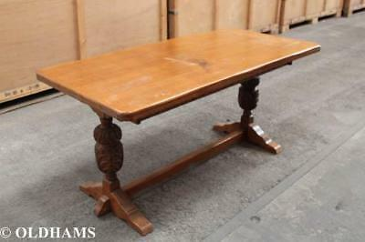 Superb Solid Oak 1920's Refectory Table - Carved Supports