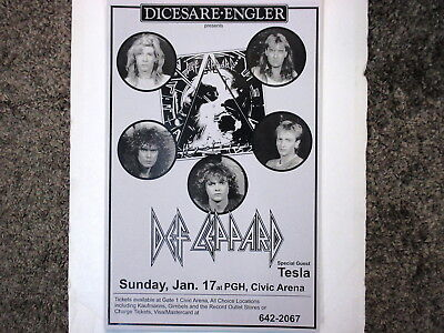 Def Leppard Concert Poster with Tesla Hysteria Tour Pittsburgh Jan. 17th !