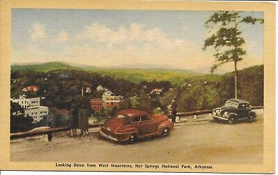 postcard 1946 Mercury Coupe (red)--1938 Ford Coupe--National Park AK