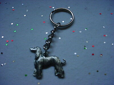 AFGHAN HOUND Silver PEWTER DOG KEYCHAIN / CHRISTMAS ORNAMENT Key Chain Ring