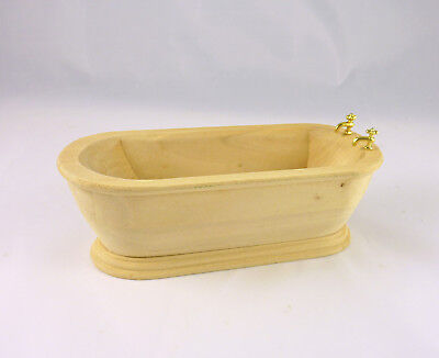 Dollhouse Miniature Modern Unfinished Wooden Bathtub, GW092