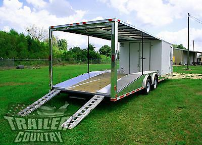 New 8.5 X 30 Enclosed + Open Deck Car Toy Hauler Trailer 10K Axles
