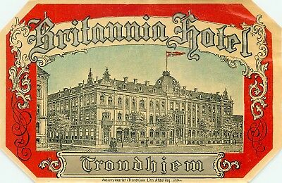 Trondheim Trondhiem Norway Britannia Hotel Amazing Rare Old Luggage Label