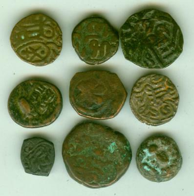 9 Indian States and Middle East Copper Coins-Lot E1