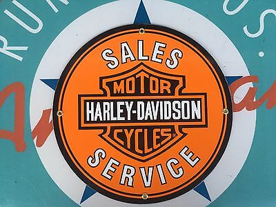 HARLEY DAVIDSON SALES - SERVICE porcelain coated 18 GAUGE steel SIGNS
