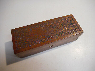 L179 Antique Wheeler and Wilson Sewing Machine Accessory OAK Box 8.5 x 3 x 2.5