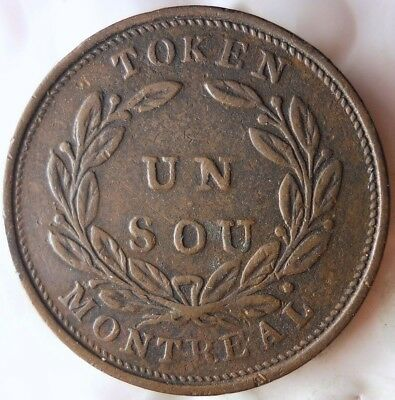 1837 CANADA (MONTREAL) 1/2 PENNY - AU - Bouquet Type - HUGE VALUE COIN - Lot F21