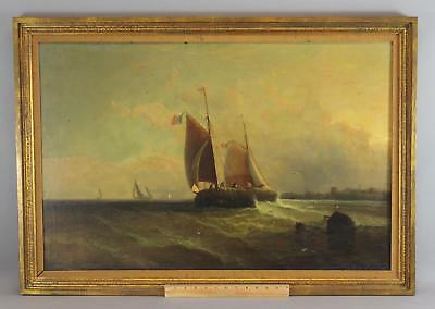 Antique 19thC Original David St Johns French Fishing Boats Seascape Oil Painting