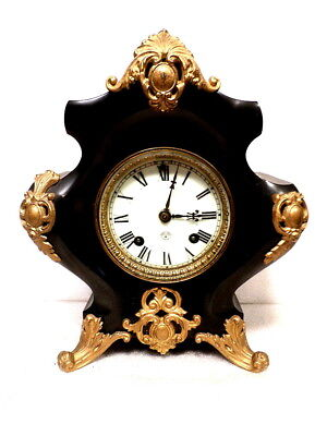 1885 Ansonia Cast Iron French Style Mantle Clock With Porcelain Dial