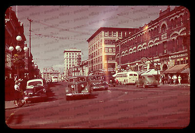 (001) ca 1940s/50s 35mm Slide Photo - VICTORIA, BC Street Scene