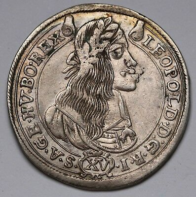 1665 Hungary 15 Krajczár Leopold I Silver Coin EH1058 KM# 175 Collectable Grade