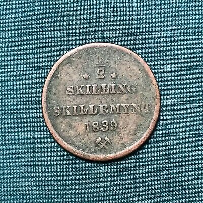 1839 Norway 1/2 Half Skilling Foreign Copper Coin