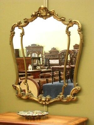 LARGE DISTRESSED GILT LOOK FRAMED WALL MIRROR ~ ANTIQUE or FRENCH ROCOCO STYLE
