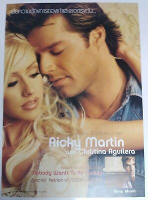 """Ricky Martin/christina Aguilera """"nobody Wants To Be Lonely""""thailand Promo Poster"""