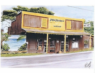 NATURAL ARTS SURF SHOP 1986  NORTH OAHU HALEIWA  8.5 x 11'' COLOR GICLEE PRINT