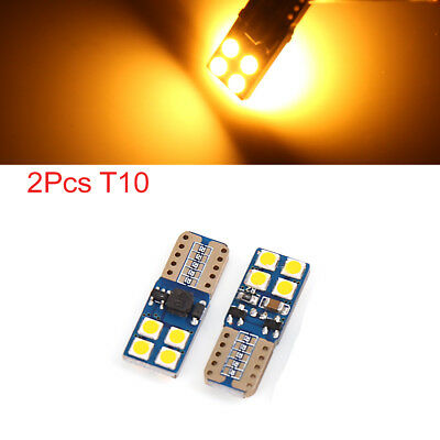 2pcs Canbus T10 W5W 8 3030-SMD-LED Yellow Car Wedge Light Bulb Dome Lamp 168 194
