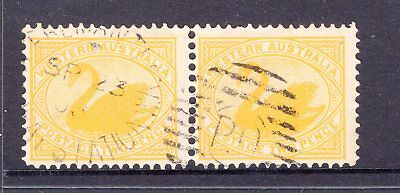 Western Australia 2d swan pair with FREEMANTLE RAILWAY STATION 1908 cancel