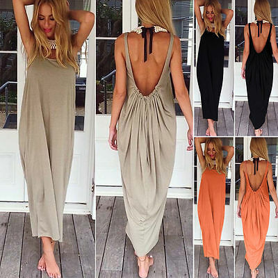 Boho Women Long Maxi Dress Backless Summer Evening Party Cocktail Beach Sundress