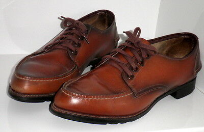 "1966 Vint Sandler Burnished Brown ""tee Up""golf Shoes In Box Size 7A, Hardly Used"