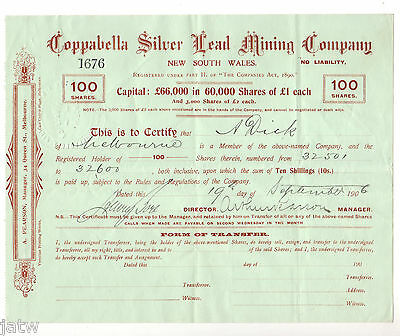 Share Scrip - Mining. 1906 Coppabella Silver Lead Mining Co. (Germantown) NSW