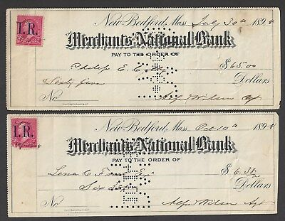 Two 1898 New Bedford Massachusetts Checks w/R-155