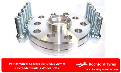 Wheel Spacers 20mm (2) 5x112 66.6 +OE Bolts For Mercedes SLK-Class [R172] 11-16
