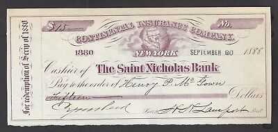 "1888 Saint Nicholas Bank ""Scrip Check"" 1888"